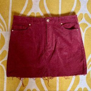 Burgundy Corduroy Mini-skirt with Raw Hem